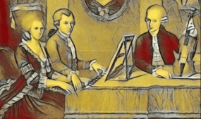 Karikatur Wolfgang Nannerl Leopold Mozart - Musiker-Anekdoten - Glarean Magazin