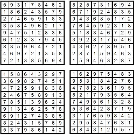 Neue leichte Sudoku 1-4 - August 2019 - Lösungen - Glarean Magazin