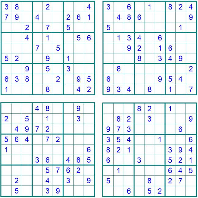 Neue leichte Sudoku 1-4 - Oktober 2019 - Aufgaben - Glarean Magazin