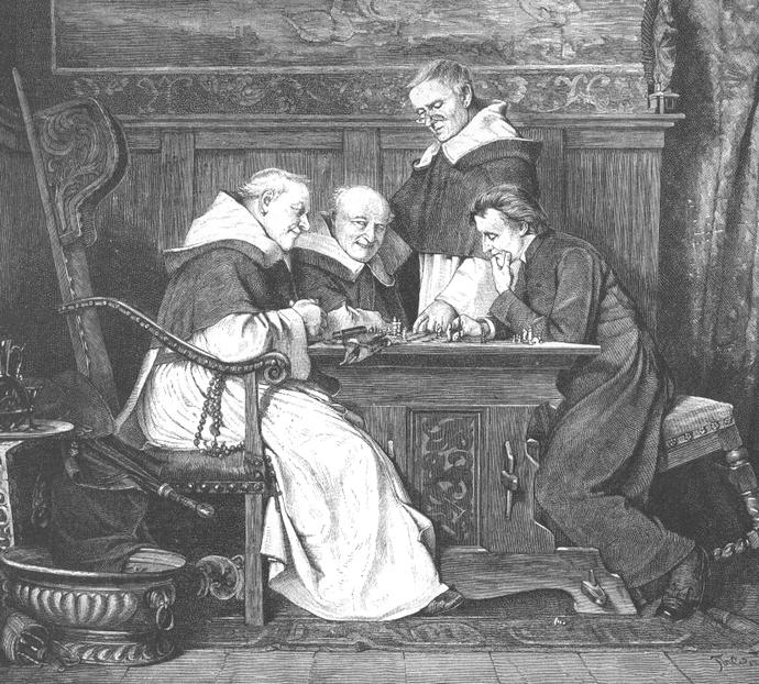 Schachmatt - Geistliche Würdenträger beim Schachspielen - Holzstich von Thure Cederström 1880 - Glarean Magazin