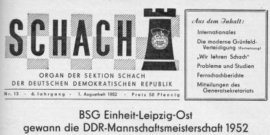 SCHACH - Deutsche Schachzeitung - Print-Head Ausgabe 1952 - Rezensionen Glarean Magazin