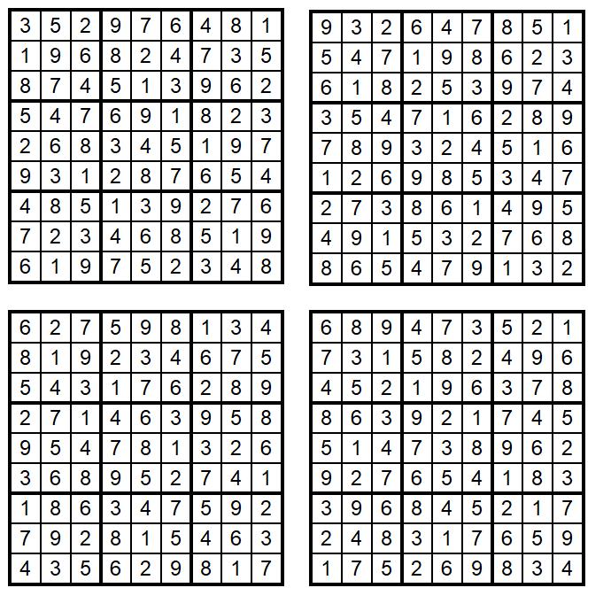 Vier neue leichte Sudoku 1-4 März 2020 - Zahlen-Puzzle-Quartett - Loesungen Glarean Magazin