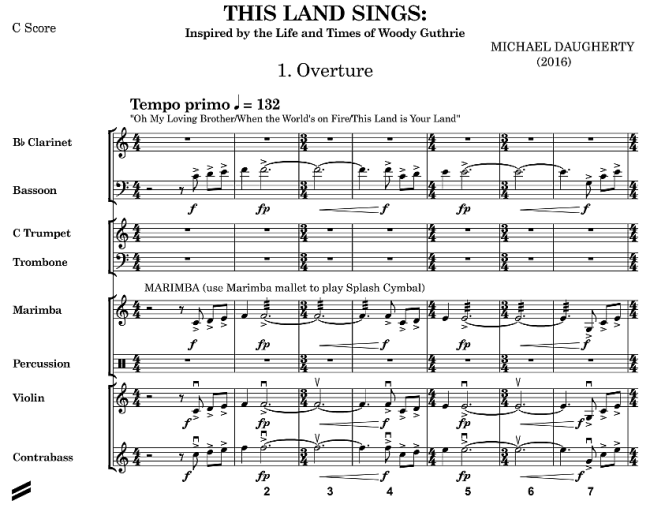 Michael Daugherty - This Land Sings - Woody Guthrie - Begin Overture - Full Score - Glarean Magazin