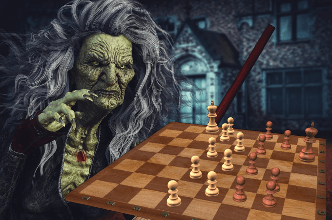 Halloween Hexe spielt Schach - Halloween Chess Witch plays Chess - Glarean Magazin 2020