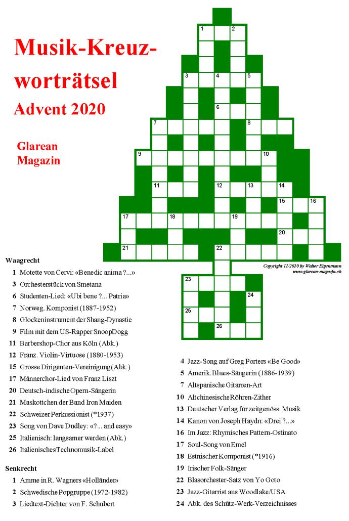 Advent-Musikpuzzle 2020-50-Euro-Kreuzworträtsel - Hinweise - Glarean Magazin
