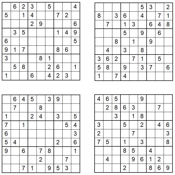 Sudoku 1-4 - Februar 2021 - Aufgaben - Glarean Magazin