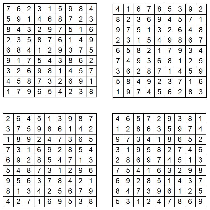 Sudoku 1-4 - Februar 2021 - Lösungen - Glarean Magazin