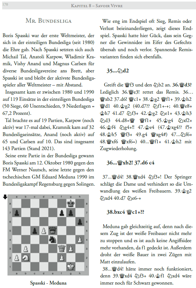 Boris Spasski - Der Leningrad Cowboy - Ein Schachleben - Ulrich Geilmann - Beispielseite (Glarean Magazin)