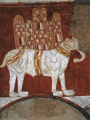 Elefant mit Turm – Fresko aus der mozarabischen Einsiedelei (ermita) San Baudelio de Berlanga - Glarean Magazin