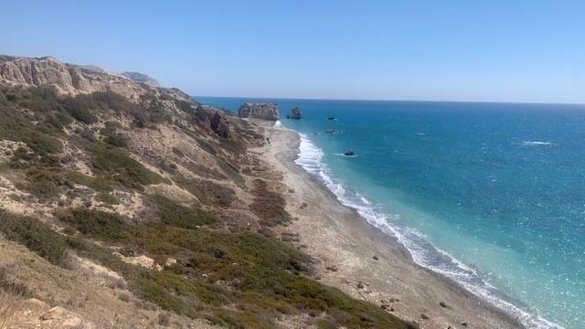 """Felsformation namens """"Aphrodite's Rock"""" an der Südküste der Insel"""