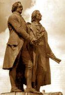 Das Goethe-Schiller-Denkmal in Weimar