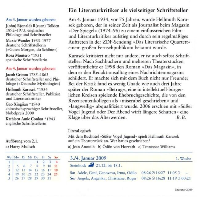 Harenberg: Literatur 2009 (Leseprobe: Ein Literaturkritiker als vielseitiger Schriftsteller)