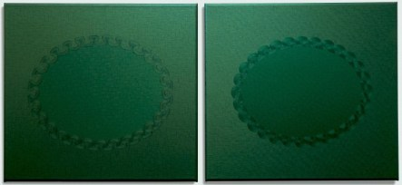 Jane Harris, Vers Vert, 2014, O l auf Leinwand, Dyptichon, 61 x 132 cm