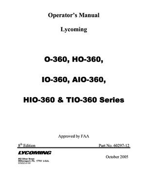 Operator's Manual Lycoming O-360, HO-360, IO-360, AIO-360