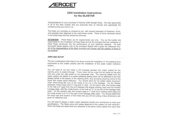 Aerocet 2200 Straight Floats Installation Manual for