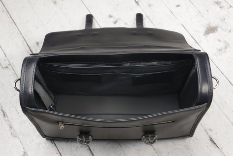 Hand-burnished,-black-Headhunter-Flaptop-Bag;-17-x-12-x-5'-topdown