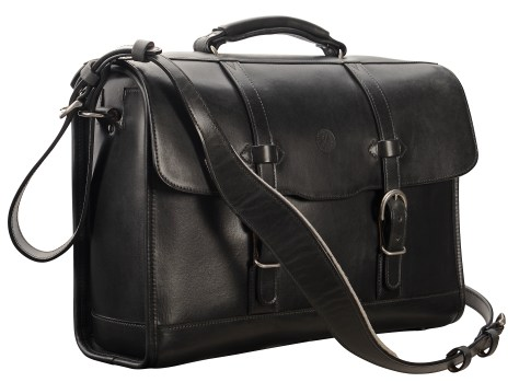 Hand-burnished,-black-Headhunter-Flaptop-Bag;-17-x-12-x-5'
