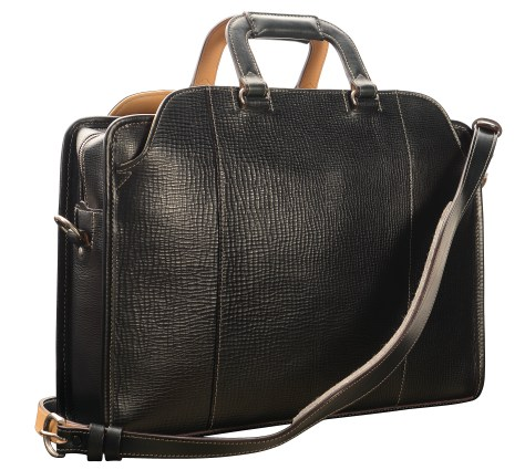 Hand-grained,-hand-colored,-olive-black-Day-Bag;-17-x-12-x-4'-back