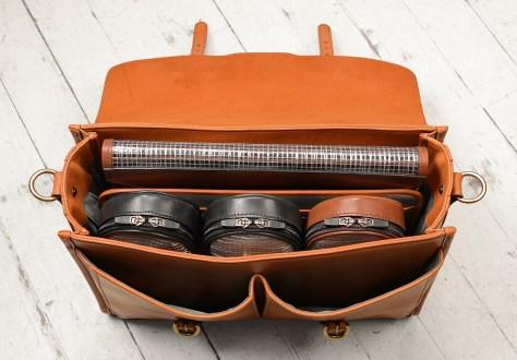 Hand-burnished,-chestnut-Flaptop-Bag;-16-x-11-x-4'-topdown