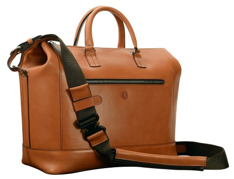 Hand-burnished,-chestnut-Club-Bag-with-water-cress-green-grosgrain-lining-and-cross-body-strap;-17-x-12-x-8'