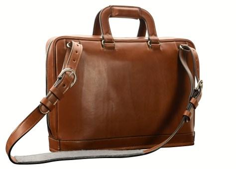 Hand-burnished-espresso-Platform-Bag;-15-x-11-x-4'-back