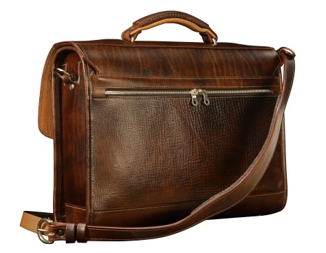 Hand-grained,-hand-colored-espresso-Flaptop-Bag-with-hand-grained-natural-trim;-17-x-12-x-5'-back