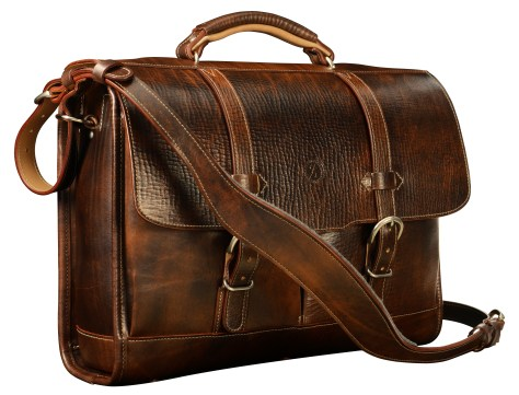 Hand-grained,-hand-colored-espresso-Flaptop-Bag-with-hand-grained-natural-trim;-17-x-12-x-5'
