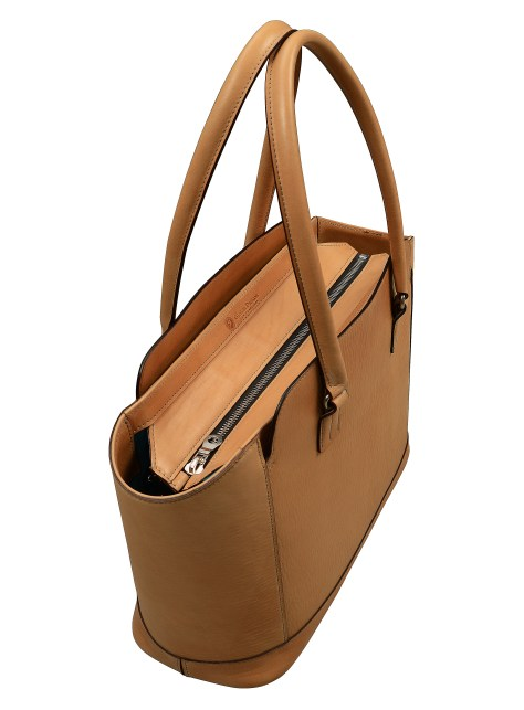 Hand-grained,-natural-City-Tote-with-turquoise-lining;-16-x-12-x-6'-topdown1