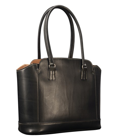 Hand-burnished-black-City-Tote-with-hand-grained-natural-trim,-natural-thread-and-crimson-red-grosgrain-lining;-14-x-11-x-6'