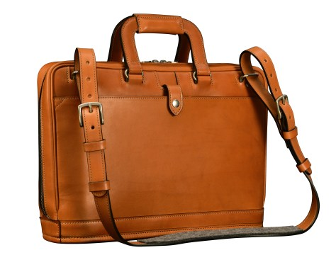 Hand-burnished-chestnut-Platform-Portfolio-Bag-with-shoulder-strap-and-dark-olive-green-lining;-15-x-11-x-4″-back