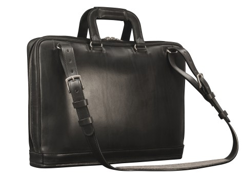 Hand-burnished,-handmade-black-Platform-Portfolio-with-cross-body-shoulder-strap;-16-x-11-x-4'-back