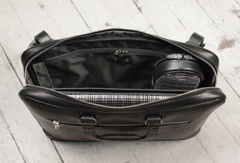 Hand-burnished,-handmade-black-Platform-Portfolio-with-cross-body-shoulder-strap;-16-x-11-x-4'-topdown1