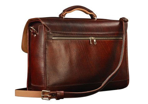 Hand-grained,-hand-colored-mahogany-Flaptop-Bag-with-hand-grained-natural-trim;-17-x-12-x-5'-back