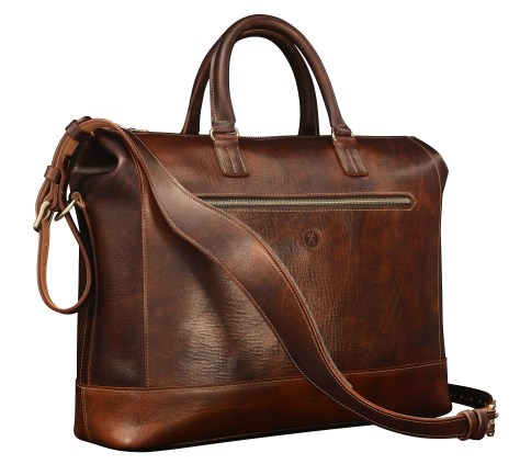 Hand-grained,-hand-colored-sienna-Club-Bag;-17-x-12-x-4'