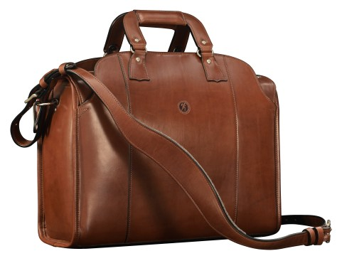 Hand-burnished-espresso-Deal-Bag-with-olive-green-grosgrain-lining;-17-x-12-x-7'