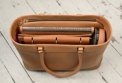 Hand-grained-natural-Business-Tote-with-long-handles-and-magenta-grosgrain-lining;-17-x-13-x-5'-topdown2
