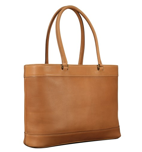 Hand-grained-natural-Business-Tote-with-long-handles-and-magenta-grosgrain-lining;-17-x-13-x-5'