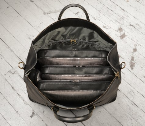 Hand-burnished,-black-Club-Bag-with-brass-hardware;-22-x-14-x-8'-topdown1
