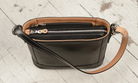 Hand-burnished-black-Shoulder-Bag-with-hand-grained-natural-trim-and-warm-gray-grosgrain-lining;-10-x-10-x-3'-topdown2