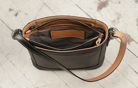 Hand-burnished-black-Shoulder-Bag-with-hand-grained-natural-trim-and-warm-gray-grosgrain-lining;-10-x-10-x-3'-topdown3