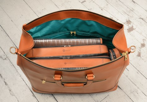 Hand-burnished,-handmade-chestnut-Club-Bag-with-turquoise-lining;-19-x-13-x-8'-topdown1