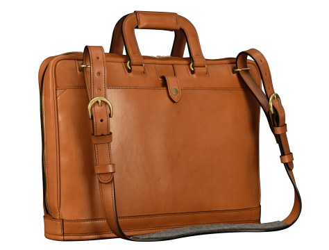 Hand-burnished-chestnut-saddle-leather-Platform-Portfolio-with-shoulder-strap;-16-x-11-x-4'-back