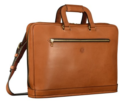Hand-burnished-chestnut-saddle-leather-Platform-Portfolio-with-shoulder-strap;-16-x-11-x-4'