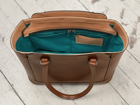Hand-burnished-espresso-City-Tote-with-hand-grained-natural-trim-and-turquoise-grosgrain-lining;-14-x-11-x-6'-topdown3