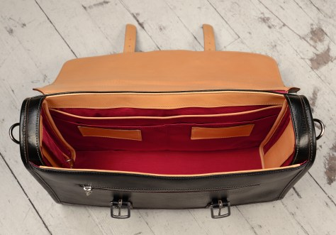 Hand-grained,-hand-colored-black-Headhunter-Flaptop-Bag-with-hand-grained-natural-leather-trim-and-crimson-red-lining;-17-x-12-x-4'-topdown2