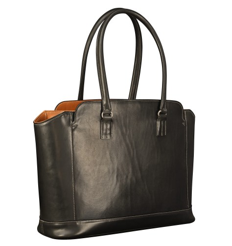 Hand-burnished-black-City-Tote-with-chestnut-trim-and-turquoise-grosgrain-lining;-16-x-12-x-6'