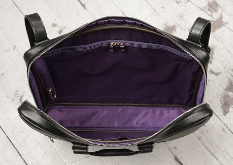 Hand-burnished-black-leather-Platform-Portfolio-with-shoulder-strap-and-purple-grosgrain-lining;-17-x-12-x-3'-topdown2