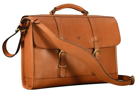 Hand-burnished-chestnut-Headhunter-Flaptop-Bag-without-front-zip-pocket;-17-x-12-x-4'