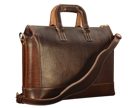 Hand-grained,-hand-colored-espresso-Club-Bag-with-hand-grained-natural-trim-and-california-blue-lining;-16-x-10-x-4'-back