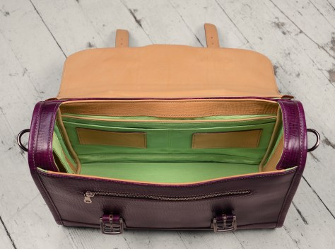 Hand-grained,-hand-colored-violetta-Headhunter-Flaptop-Bag-with-natural-trim-and-lime-green-lining;-15-x-11-x-4'-topdown2